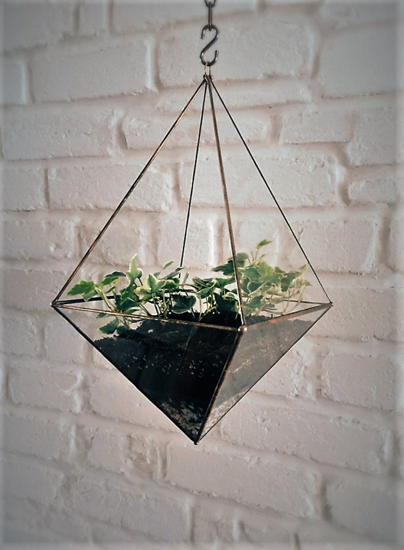 Hanging glass terrarium. Space saving. Octahedron. Geometric. image 0