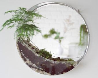 Geometric glass terrarium. Round terrarium. Stained glass. Hanging plants. Glass mirror. Rustic decor. Indoor garden. Valentin's Day