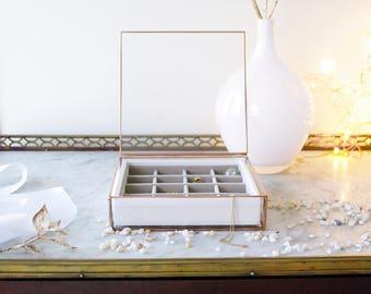 Jewelry glass box. Geometric box. Copper. Square. Accessories box. Ring box. Gift for Her. Valentin's Day. Wedding. Minimalist. Contemporary