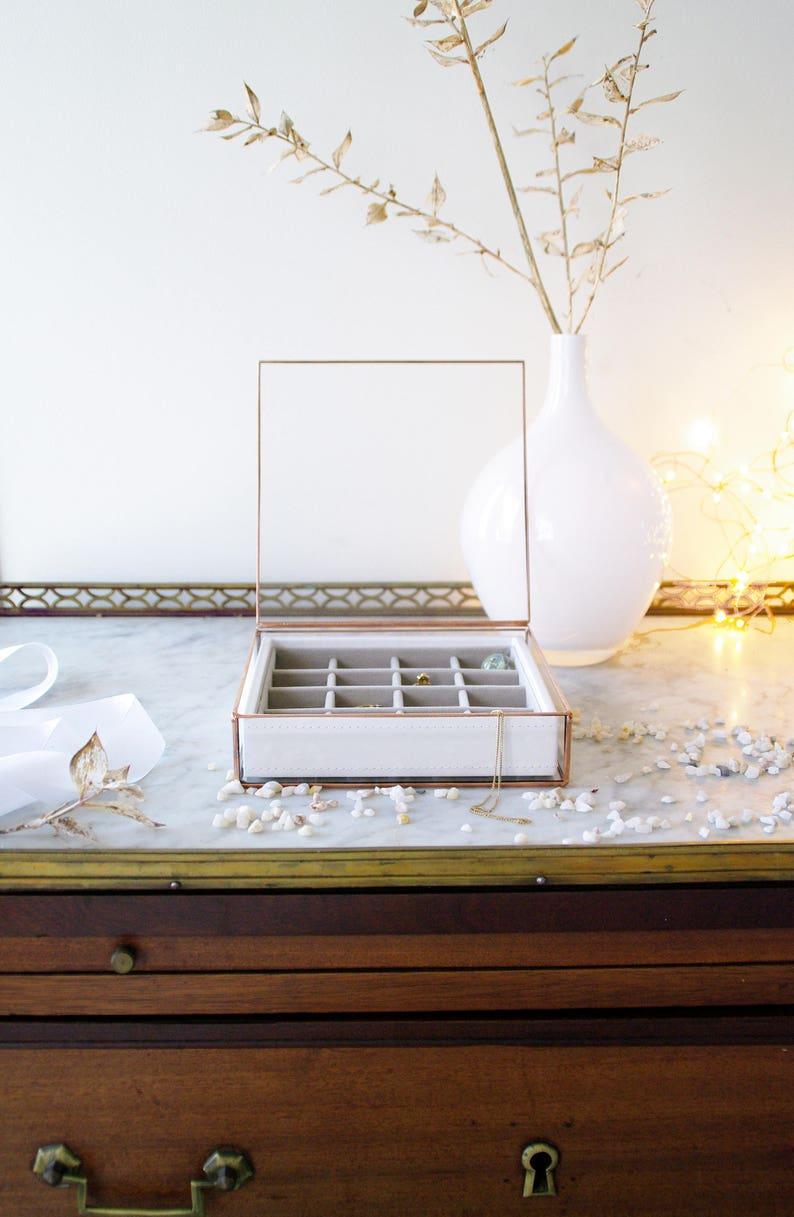 Copper Geometric box Wedding Jewelry glass box Accessories box Valentin/'s Day Ring box Gift for Her Minimalist Square Contemporary