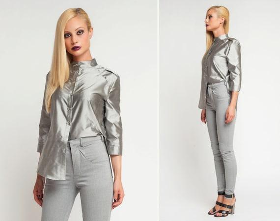 silver metallic shirt sexy womens shirt silk blouse womens etsy. Black Bedroom Furniture Sets. Home Design Ideas