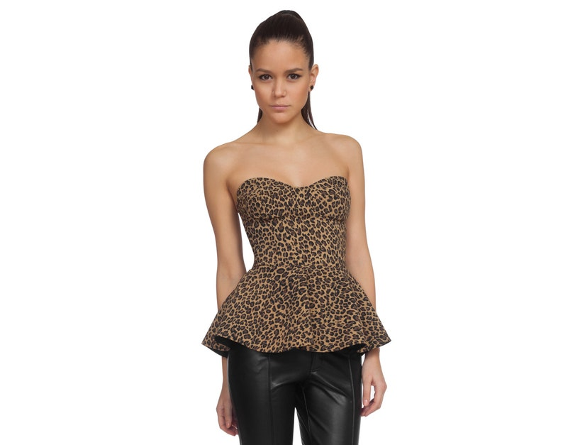 598d808288 Sexy Top Womens Corset Leopard Clothing Club Top Fetish