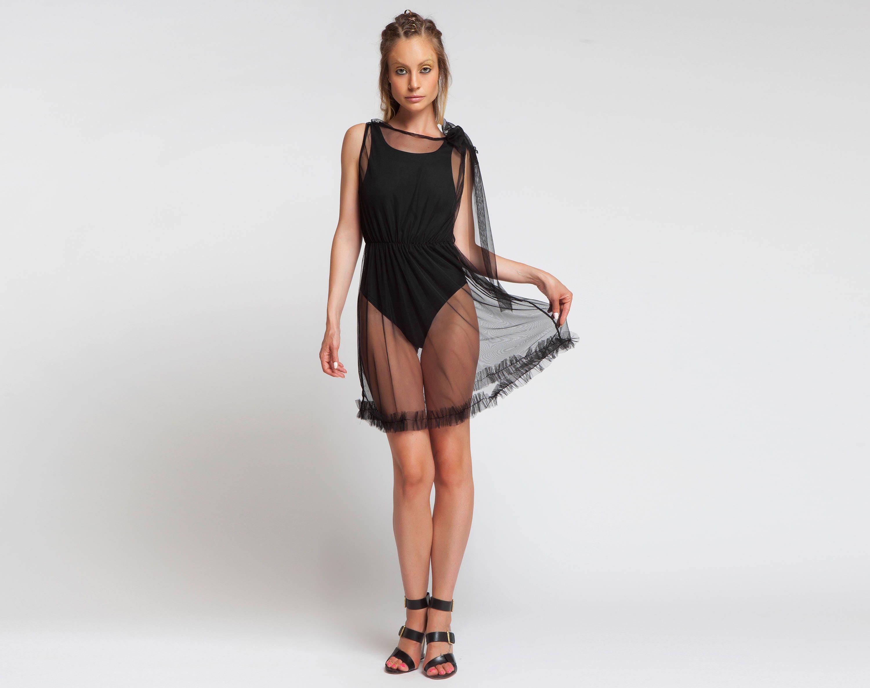 Schiere Kleid Strand vertuschen kurze Sexy Kleid BDSM Tüll   Etsy