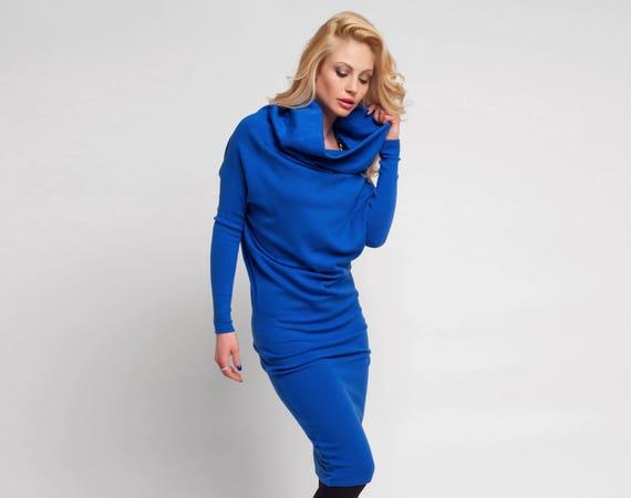 Plus Size Dress, Royal Blue Dress, Midi Dress, Cowl Neck Dress, Oversized  Dress, Loose Dress, Gift For Her, Casual Dress, Office Dress