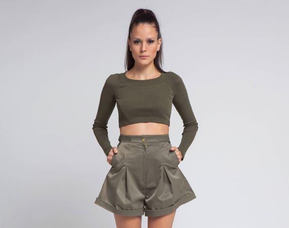 Plus Größe Hose Damen Shorts Armee grün Hose hohe Taille   Etsy