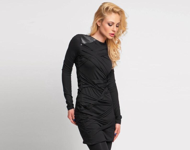 Black Dress Latex Clothing Plus Size Clothing Leather Black | Etsy