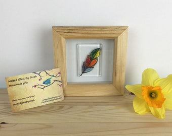 rainbow feather box frame-rainbow feather-fused glass wall art-memorial gift-gift for her-gift-bedroom decor-home decor
