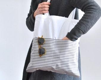 Jute Bag/Cotton Bag, Bag white, black and white stripes, Cotton bag