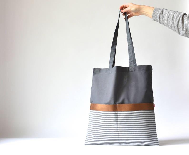 7cf911843fe2c Cotton Bag Grey Stripes Grey Hand Bag Black and white