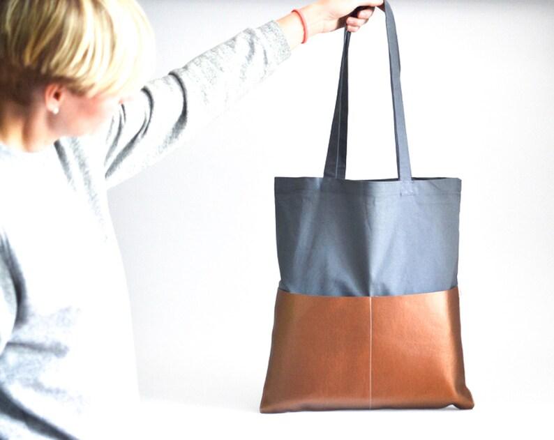 Jute Bag Shopping Bag Cotton Bag Grey Bag Grey and Copper image 0