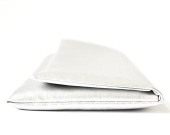 Clutch, Silver Clutch, Faux Lether, Silver, Hand Bag, Purse, Accessoire Wedding, Bright Bag