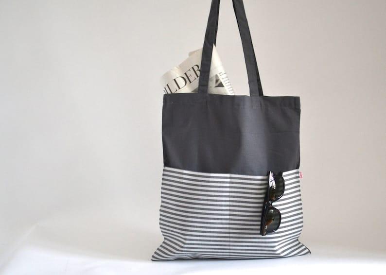 3b87e811e5018 Jutebeutel grau Stofftasche grau gestreift graue Tasche
