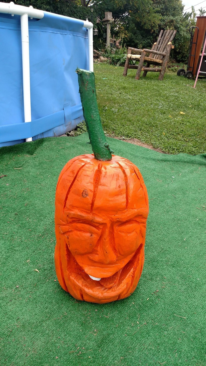 Large one of a kind wood chainsaw carving laughing pumpkin etsy