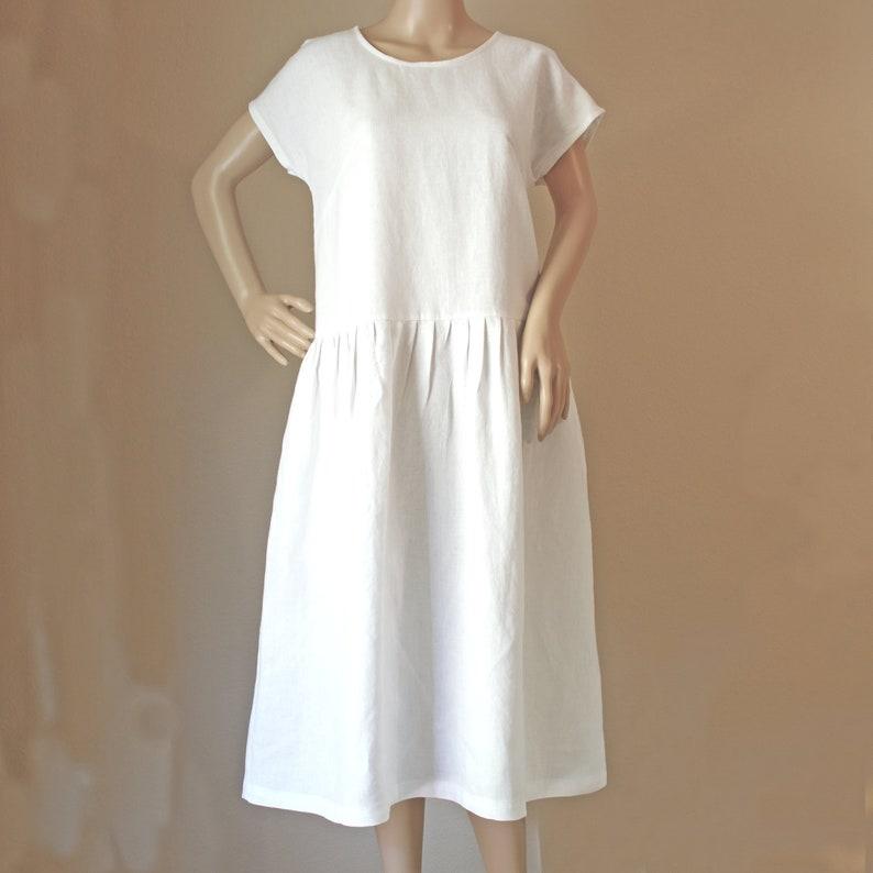 48c722fc90 Women s Linen Dress Loose linen dress White Linen Dress