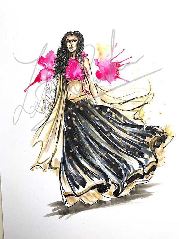 Set Me Free Fashion Illustration Lehenga Indian Inspired Etsy