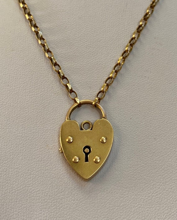 Vintage gold heart padlock necklace