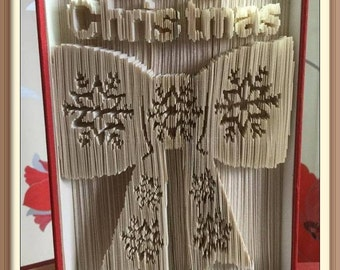 451. Merry Christmas Bow. Book Folding Pattern