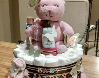Teddy Bear Diaper Cake, woodland pink diaper cake, butterfly diaper cake, 2 tier