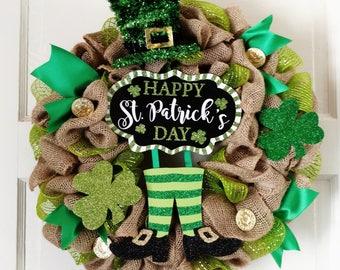 St Patrick's Day Wreath, shamrock wreath, leprechaun Legs