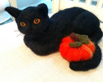 Black Cat, Wool Felted Cat with Pumpkin, Cat Holding Pumpkin.