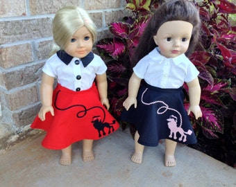 18 Inch Doll Clothes, Poodle Skirt,1950's Style,