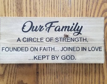 Our Family A Circle Of Strength, Founded On Faith... Joined In Love...Kept By God Wood Sign
