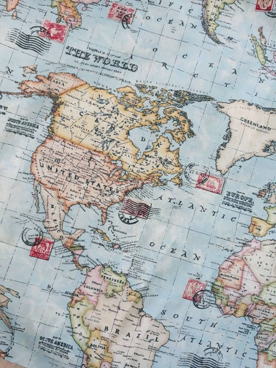 World Map Fabric By The Yard Width 55 Inches Map Fabric Etsy