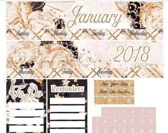 Planner Stickers Erin Condren January 2018 Monthly View Kit