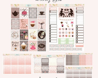 Planner Stickers Weekly Kit EC Vertical Two for Tea and Coffee