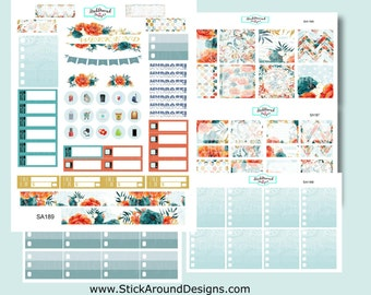 Planner Stickers  - Weekly Kit - Fire and Ice Blooms