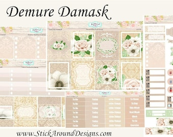 Planner Stickers - Demure Damask Weekly Kit