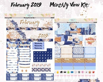 Planner Stickers February 2018 Monthly View Kit