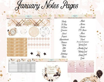 Planner Stickers EC January Monthly Notes Pages