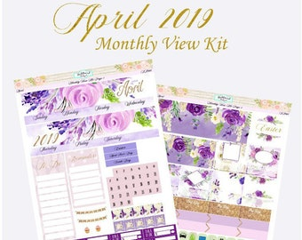 April Monthly View Kit Planner Stickers