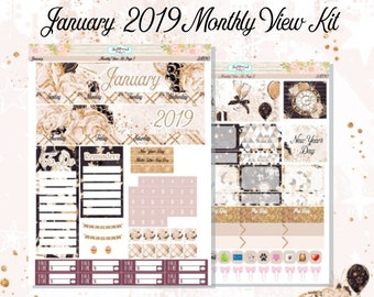Planner Stickers Erin Condren January 2019 Monthly View Kit