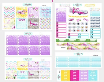 Planner Stickers Weekly Kit - ECLP Vertical - Functional Stickers - Boho Beach and Surf