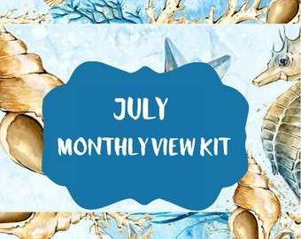 Planner Stickers July 2017 Monthly View Kit - Treasures of the Sea