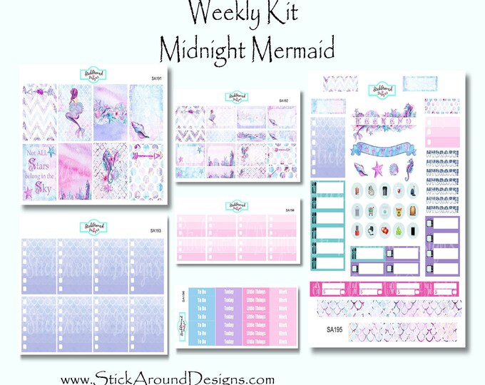 Featured listing image: Planner Stickers Weekly Kit EC Vertical Midnight Mermaid