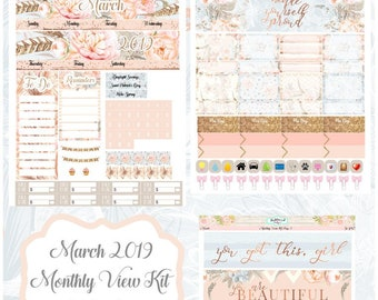Planner Stickers March 2019 Monthly View Kit