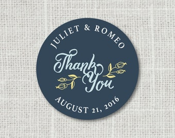 Thank You Stickers, Custom Thank You Wedding Labels, Personalized Thank You Stickers