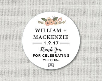Thank You Stickers, Custom Rustic Thank You Wedding Labels, Personalized Thank You Stickers