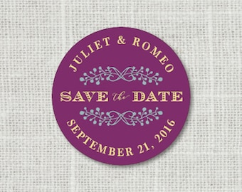 Save the Date Stickers, Custom Save the Date Wedding Labels, Personalized Save the Date Stickers