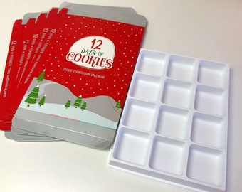 12 Days of Cookies Advent Calendar Boxes- pack of 5 ( FIVE) boxes with 5 (FIVE) inserts. Cookies NOT included.