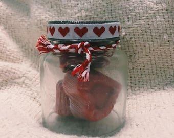 Handmade soap (Coconut oil - Honey) essence of cherry blossom set of 3 with Jar