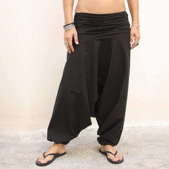 Pantalones Negros De Mujer Al Estilo Indio Karmalie Alta Etsy