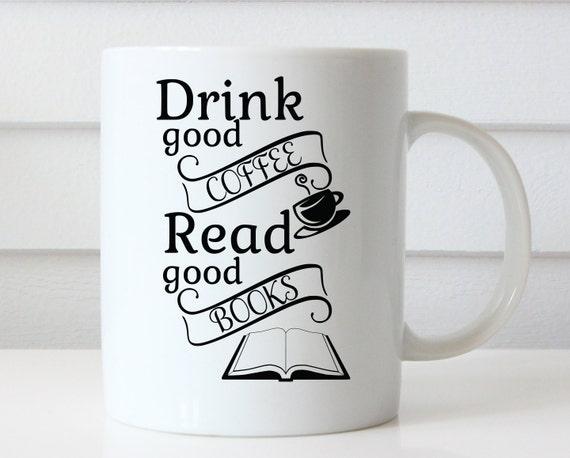 guter kaffee gute b cher lesen buch kaffee haferl etsy. Black Bedroom Furniture Sets. Home Design Ideas