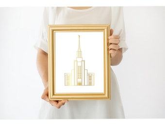 Items Similar To Twin Falls Temple Silhouette Real Foil Gold