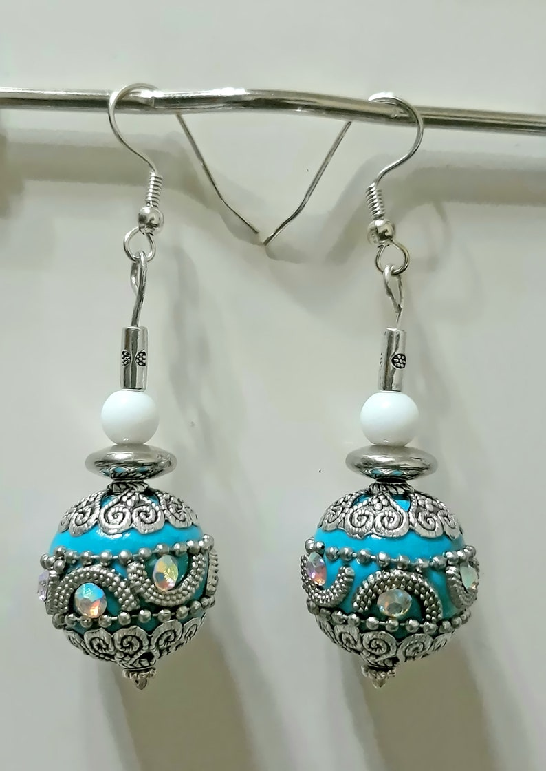 Silver Turquoise color Enamel with and White Glass and Metal spacer Earrings
