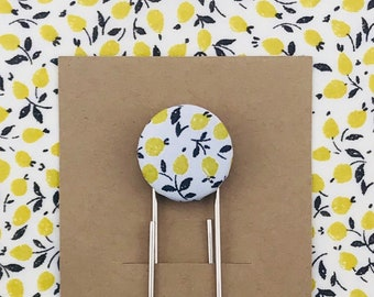 Spring Paperclip Bookmark - LIBERTY Tana Lawn Ed Yellow Fabric Button