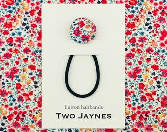 Spring Button Hairband - LIBERTY Tana Lawn Phoebe Fabric
